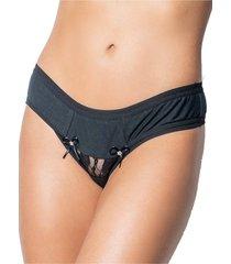 calcinha click chique básica em algodão liso com elástico exposto e tule preto