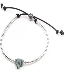 weimaraner head bracelet in sterling silver and enamel