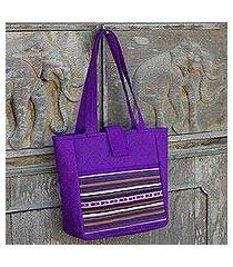 cotton shoulder bag, 'lisu realm in purple' (thailand)