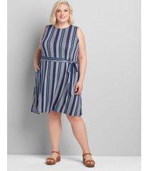 lane bryant women's back-cutout swing dress with belt 34/36 blue stripe