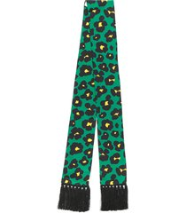 la doublej simple flower leopard skinny scarf - green