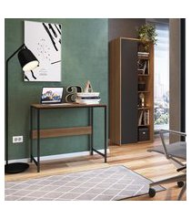 conjunto mesa escrivaninha + livreiro office trevalla cf-003 grafite e mel