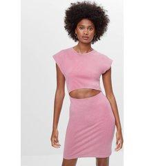 cut-out jurk met schoudervulling
