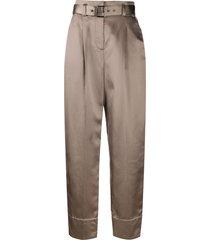 brunello cucinelli satin wide leg trousers - neutrals