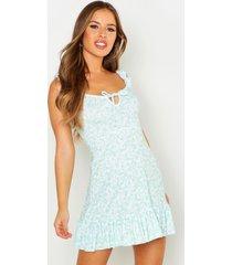 petite ruffle hem floral mini dress