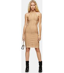 camel funnel neck bandage dress - camel