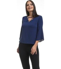 blusa clara arruda decote cruzado 20338 - feminino