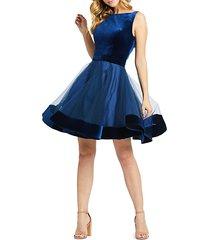 velvet fit-&-flare cocktail dress
