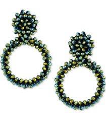 guess beaded drop hoop earrings