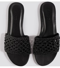 na-kd shoes braided slip in sandals - black