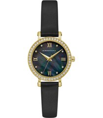 bcbgmaxazria ladies black leather strap watch with dark mop dial, 30mm