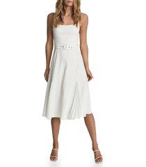 women's reiss tamsyn sleeveless belted dress, size 10 - white