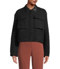 theory women's virgin wool-blend faux-fur cropped jacket - black - size s