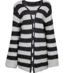 casaco john john snow tricot listrado feminino (listrado, gg)