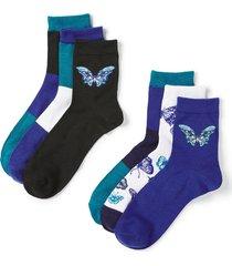 butterfly crew socks 6-pack