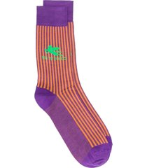etro contrast stripe logo socks - purple
