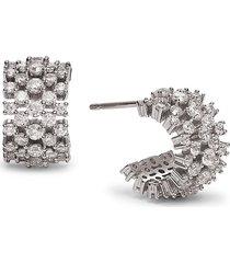 adriana orsini women's cubic zirconia half hoop earrings