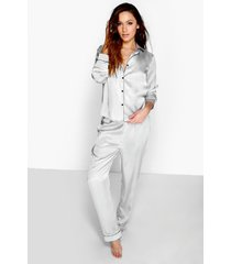 contrast piping button down satin pyjama set, grey