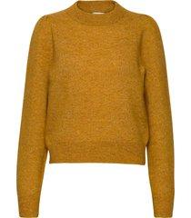 brooky knit volumen o-neck stickad tröja gul second female
