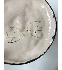 ceramiczny talerz złote ptaki