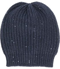 brunello cucinelli sequin beanie - blue