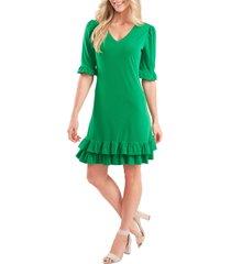 women's cece ruffled v-neck knit dress, size x-large - green