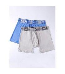 kit com 02 cuecas boxer masculinas bege/azul