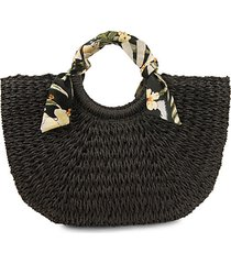 roxanne scarf-wrapped ring straw satchel