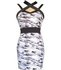 vestido ajustado espalda tiras sarab / gris-negro