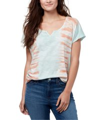 william rast tie-dye split-neck t-shirt