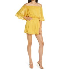 women's endless rose off the shoulder ruffle sleeve romper, size small - yellow