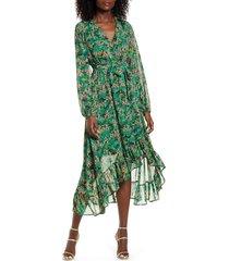 women's vero moda anneline long sleeve high/low faux wrap dress