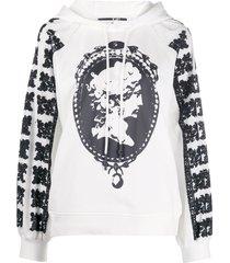 mcq alexander mcqueen cameo print textured sleeve hoodie - white