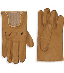wool-trim leather gloves