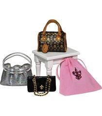 set of 3 designer handbag accessories set for 18 in american girl doll clothing