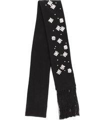 haider ackermann rhinestone-embellished fringed scarf - black
