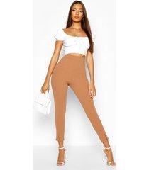 crêpe stretch skinny fit broek met split, kameel