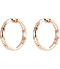 18k rose gold tiered hoop earrings