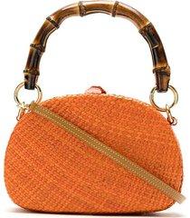 serpui straw clutch bag - orange