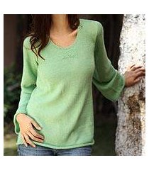 alpaca blend sweater, 'mint charisma' (peru)