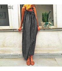 zanzea s-5xl de las mujeres de la tela escocesa comprobar larga camisa de vestir de verano cuello cuadrado vestido maxi del tamaño extra grande -negro