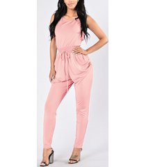 light rosa cintura con cordón cruzado sin espalda moda mono