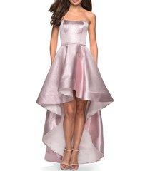 women's la femme strapless high/low gown
