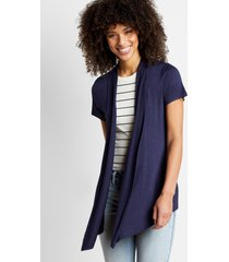 maurices womens navy short sleeve open front cardigan blue
