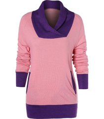 color block raglan sleeve t-shirt with pocket