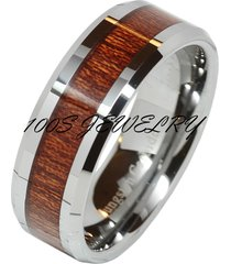 8mm men's silver tungsten carbide wood inlay comfort fit wedding band ring sizes