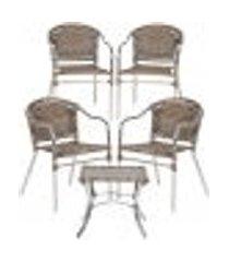 jogo cadeiras 4un e mesa de centro floripa para edicula jardim area varanda descanso - argila