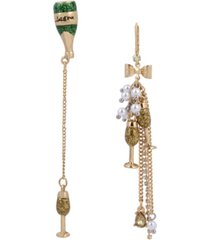 betsey johnson champagne mismatch linear earrings