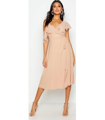 chiffon cold shoulder wrap midi skater dress, blush