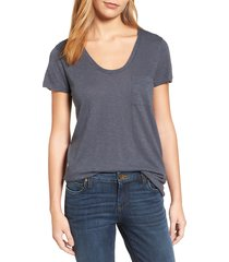 women's caslon rounded v-neck tee, size large - grey